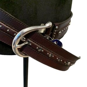 MICHAEL KORS Silver Studded Brown Belt Sz L NWT